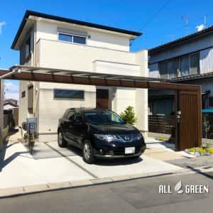 inazawashi_s_03390_1-300x300 三協アルミのスカイリード、木調フレームと縦格子でデザインされたスタイリッシュな稲沢市の新築外構ファサード