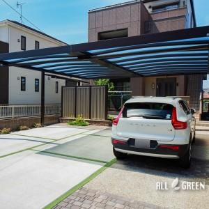 nakagawa_i_03792_5-300x300 中川区のリフォームでつくられたシンプルなフォルムでカッチリ決まったカーポートとグリーンの目地が優しい印象の駐車スペース